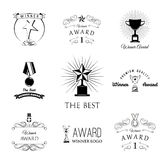 Trophies and awards banners, ribbons and labels set. Stars, Cups and Medals. Vector Royalty Free Stock Images