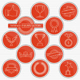 Trophies and awards round line icons set. Trophies and awards. Red round line icons set for your design Stock Photos