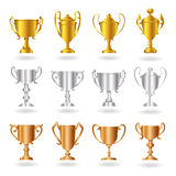 Trophies and Awards - Set 2 - Gold Silver Bronze Stock Photography