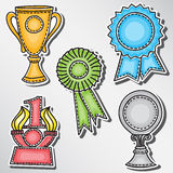 Trophies and awards set - stickers. Hand-drawn illustration Stock Photo