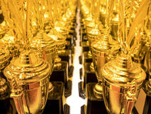Trophies for competitions lined up Stock Photos