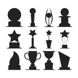 Trophies cups and challenge prizes. Icons collection against Award sport Symbol of competition reward and champion best - vector Stock Image