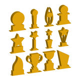 Trophies cups and challenge prizes. Icons gold collection against Award sport Symbol of competition reward and champion best - vector Stock Photo