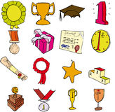 Trophies etc. Selection of trophies aawards and prizes Royalty Free Stock Photo