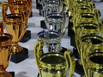 Trophies. In gold, silver and bronze Royalty Free Stock Images