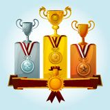Trophies On Podium. Golden cups and medal trophies on winners podium cartoon vector illustration Royalty Free Stock Images