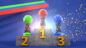Trophies On Podium. High quality and high resolution illustration of trophies with different colors in a lively and cheerful environment with color bands and   Stock Images