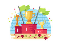Trophies on podium. Sports awards, trophies on podium. Awarding ceremony, vector flat illustration Royalty Free Stock Photos