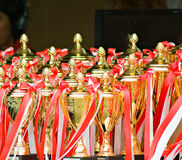 Trophies at a sports event Royalty Free Stock Images