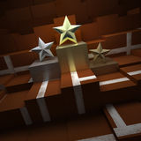 Trophies in a tennis podium. Star shaped trophies in a tennis court textured podium Stock Images