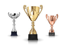 Trophies. Three different kind of trophies. Isolated on white background royalty free stock photo