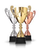 Trophies. Three different kind of trophies on white background Stock Photo