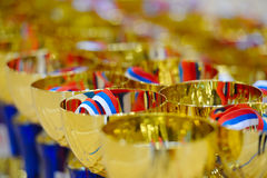 Trophies to winners to award with colored ribbon. Stock Photography