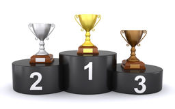 Trophies on the winner's podium. 3d render of golden, silver and bronze trophies on the winner's podium Royalty Free Stock Photos
