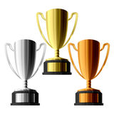 Trophies for winners. Vector illustration of three trophies. Gold, silver, and bronze Stock Photography