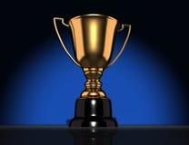 Trophy. Golden champion cup-trophy. 3d render illustration Stock Photo