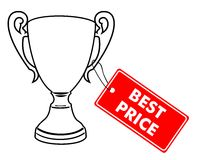 Trophy with. Vector illustration of Trophy with Best price label Stock Images