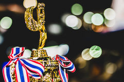 Trophy. A trophy with bokeh background stock photography