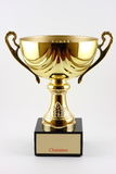 Trophy. A gold champion trophy cup, in white background stock photos