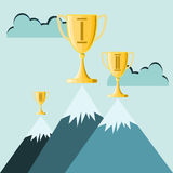 Trophy atop high mountain peak Stock Image
