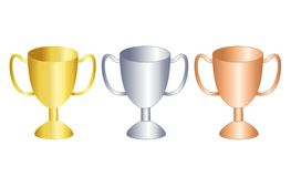 Trophy / award. Illustration of gold , silver and bronze trophies for 1st , 2nd , 3rd place winners Stock Photos