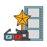 Trophy award 3d glasses and strip film cinema movie vector illustration
