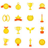 Trophy award icons set, in cartoon style Royalty Free Stock Image