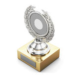 Trophy award with laurel wreath isolated on white background. 3d. Rendering Stock Photography