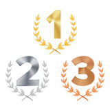 Trophy Award Set Vector. Award. Figures 1, 2, 3 One, Two, Three In A Realistic Gold Silver Bronze Laurel Wreath. Winner. Trophy Award. Isolated Royalty Free Stock Photography