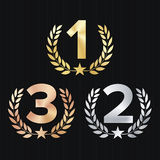 Trophy Award Set Vector. Figures 1, 2, 3 One, Two. Three In A Realistic Gold Silver Bronze Laurel Wreath And Red Ribbon. Competition Game Concept.  On Black Royalty Free Stock Image