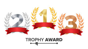 Trophy Award Set Vector. Figures 1, 2, 3 One, Two, Three In A Realistic Gold Silver Bronze Laurel Wreath And Red Ribbon. Winner Honor Prize. Isolated Royalty Free Stock Photo