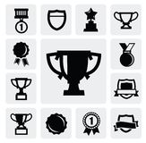 Trophy and awards. Vector black trophy and awards icons set Royalty Free Stock Photo
