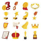 Trophy and awards cartoon icons set Royalty Free Stock Images