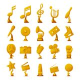 Trophy and Awards Collection Vector Illustration. Trophy and awards collection of icons with golden objects given to winners and famous people in different Royalty Free Stock Photography