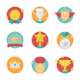 Trophy and awards flat design icons set. Vector medal and trophy cups icon set isolated on white background. Trophy and awards  flat design Stock Images