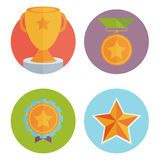 Trophy and awards in flat design style. Royalty Free Stock Photo