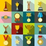 Trophy and awards flat icons set Stock Photos