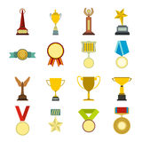 Trophy and awards flat icons set Royalty Free Stock Images