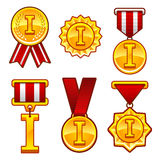 Trophy, awards, flat medal, first place, badge. Trophy, awards,  first place flat medal, badge sign, label icon set Stock Photos