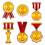 Trophy, awards, flat medal, first place, badge Stock Photos