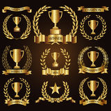 Trophy awards golden badges and labels collection Stock Image