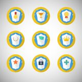 Trophy and awards icons in flat design style stock illustration