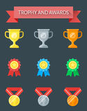 Trophy and Awards Icons. Trophy and Awards flat icons. Use a set of icons for your creative ideas Royalty Free Stock Image