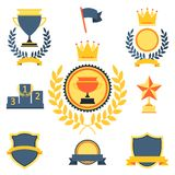 Trophy and awards icons set Royalty Free Stock Image