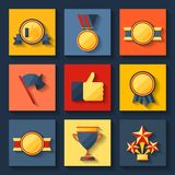 Trophy and awards icons set. Royalty Free Stock Photo