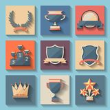 Trophy and awards icons set Stock Photos