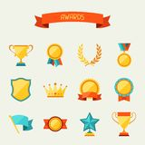 Trophy and awards icons set Royalty Free Stock Photo
