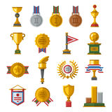 Trophy and awards icons set. Award medal icons and gold award emblem cartoon award icons vector. Trophy and awards icons set flat vector illustration Stock Images