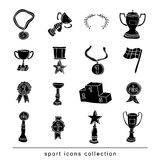 Trophy and awards icons set  black. Stock Photo