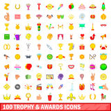 100 trophy and awards icons set, cartoon style. 100 trophy and awards icons set in cartoon style for any design vector illustration Royalty Free Stock Photography